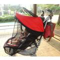 Козырёк от солнца на коляску с москитной сеткой Manito Magic, красный с чёрной сеткой