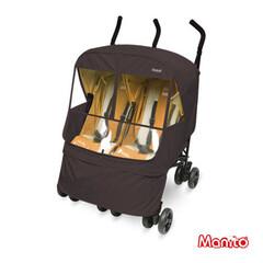 Универсальный дождевик для двойной коляски Manito Elegance Alpha Twin, цвет  шоколадный